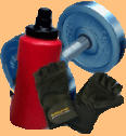 dumbbell, water bottle, gloves